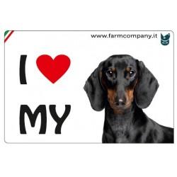 """FARM COMPANY Morbido Magnete """"I LOVE"""" Bassotto 9x6 cm"""