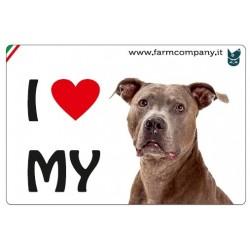"""FARM COMPANY Morbido Magnete """"I LOVE"""" Amstaff 9x6 cm"""