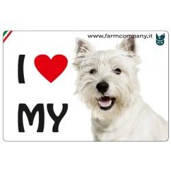 """FARM COMPANY Morbido Magnete """"I LOVE""""  West Highland 9x6 cm"""