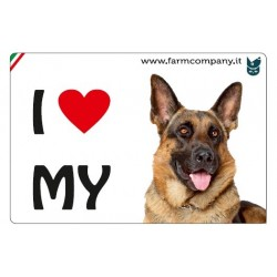 "FARM COMPANY Morbido Magnete ""I LOVE""  Pastore Tedesco 9x6 cm"