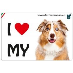 """FARM COMPANY Morbido Magnete """"I LOVE""""  Pastore Australiano 9x6 cm"""