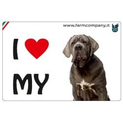 """FARM COMPANY Morbido Magnete """"I LOVE""""  Mastino Napoletano 9x6 cm"""