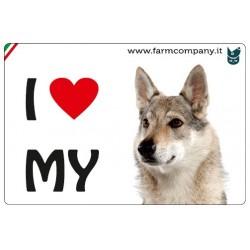 """FARM COMPANY Morbido Magnete """"I LOVE""""  Lupo Cecoslovacco 9x6 cm"""