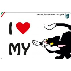 """FARM COMPANY Morbido Magnete """"I LOVE""""  Gatto Fumetto 9x6 cm"""