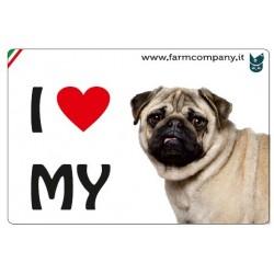 """FARM COMPANY Morbido Magnete """"I LOVE""""  Carlino 9x6 cm"""