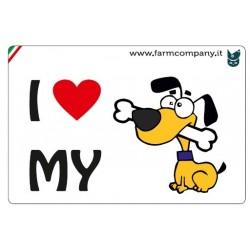 """FARM COMPANY Morbido Magnete """"I LOVE""""  Cane Fumetto1 9x6 cm"""