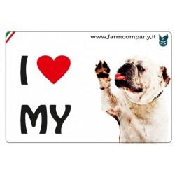 """FARM COMPANY Morbido Magnete """"I LOVE""""  Bulldog Inglese 9x6 cm"""