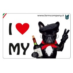 "FARM COMPANY Morbido Magnete ""I LOVE""  Bulldog Francese2 9x6 cm"