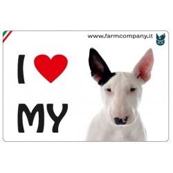 """FARM COMPANY Morbido Magnete """"I LOVE""""  Bull Terrier 9x6 cm"""